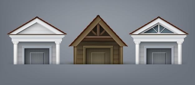 Ilustracja elewacji elementu, trzy portyki wykonane z drewna i betonu z kolumnami nad drzwiami w domu na szarym tle