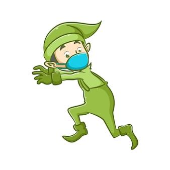 Ilustracja elfa w zielonym kostiumie z maską tosca próbuje uciec z przerażającą twarzą