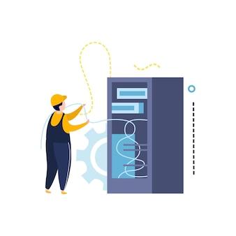 Ilustracja energii elektrycznej i oświetlenia w stylu płaski z charakterem elektryka z przewodami i ilustracji wektorowych szafy zasilającej