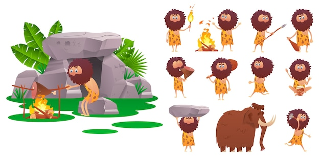 Ilustracja epoki kamienia łupanego