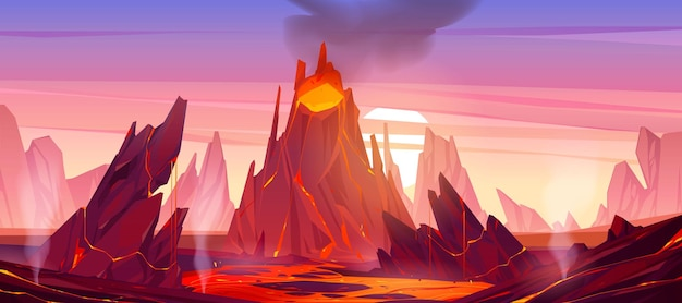 Ilustracja erupcji wulkanu