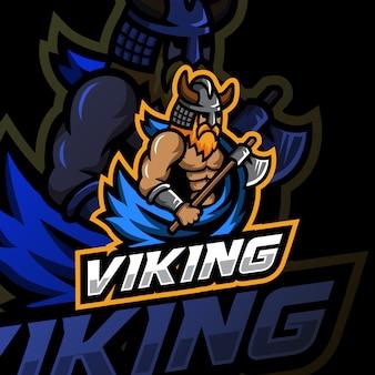 Ilustracja esport logo maskotka viking