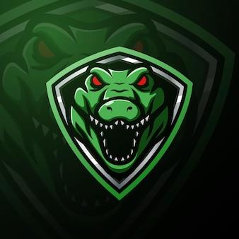 Ilustracja esport maskotka głowa aligatora