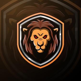 Ilustracja esport maskotka głowa lwa