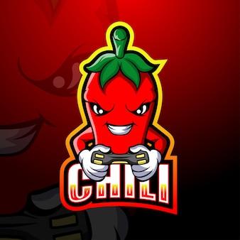 Ilustracja esport maskotka gracza chili