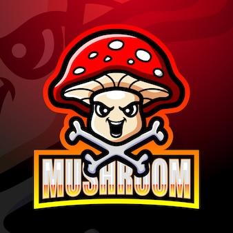Ilustracja esport maskotka grzyb
