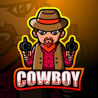 Ilustracja esport maskotka kowboja