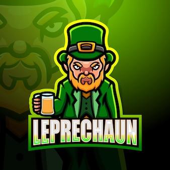 Ilustracja esport maskotka leprechaun