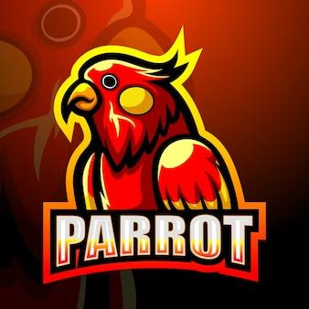 Ilustracja esport maskotka papuga