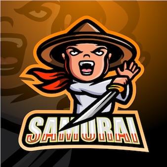 Ilustracja esport maskotka samuraja