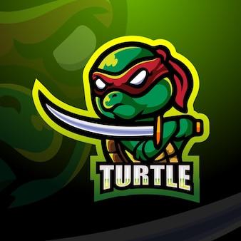 Ilustracja esport maskotka żółw ninja