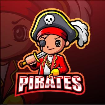 Ilustracja esport pirata maskotka