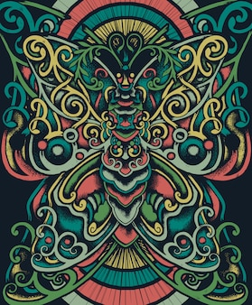 Ilustracja etniczna kwiatowy motyl