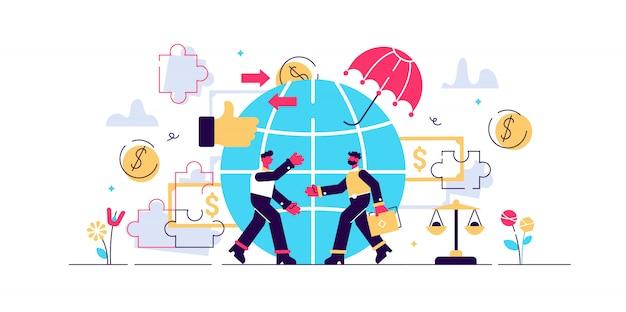 Ilustracja etycznego marketingu. koncepcja małych odpowiedzialnych osób. symboliczny, uczciwy i uczciwy, zrównoważony biznes. moralna metoda handlu w firmie. ideologia przyjazna środowisku.