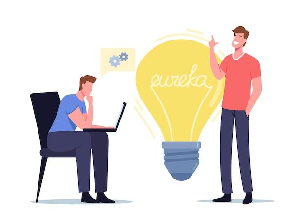 Ilustracja eureki. biznesmeni koledzy postacie z laptopem siedzący przy ogromnej żarówce myślący kreatywny pomysł