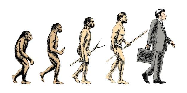 Ilustracja ewolucji biznesmena