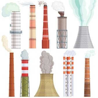 Ilustracja fabryka przemysłu zanieczyszczenie komina przemysłowego dymem w środowisku zestaw ilustracji fabryki rur kominowych z toksyczną energią powietrza energii na białym tle