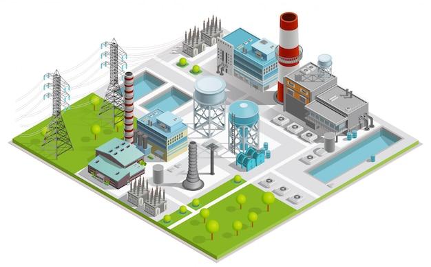 Ilustracja fabryki kotłów