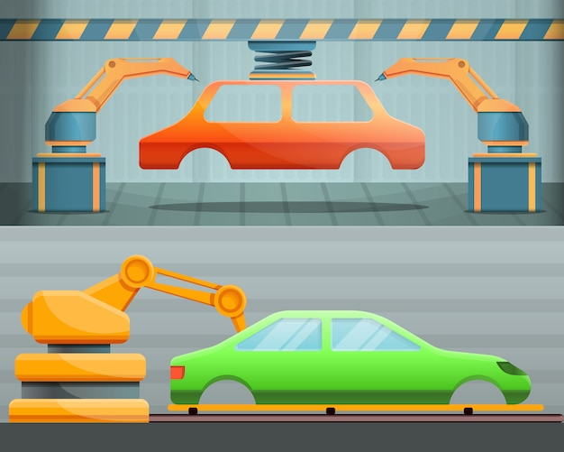 Ilustracja fabryki samochodów na stylu kreskówki