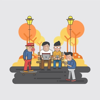 Ilustracja faceci wiesza w parku