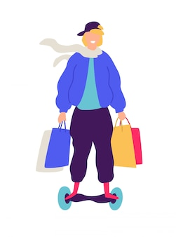Ilustracja facet na hulajnoga z zakupami.