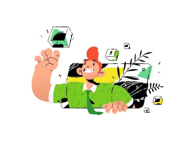 Ilustracja faceta z komórkami bankowymi i sejfami. metafora o zachowaniu tego, co najcenniejsze w komórkach bankowych.
