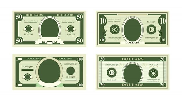 Ilustracja fałszywych banknotów dolarów. rachunek sto dolarów odpowiednich na karty rabatowe na białym tle we.