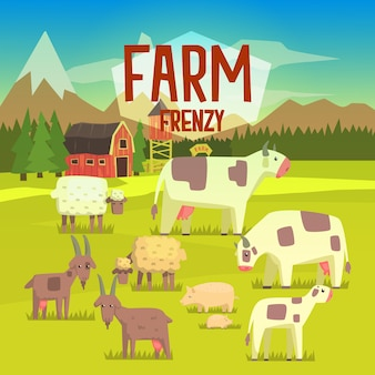 Ilustracja farm frenzy z polem pełnym zwierząt