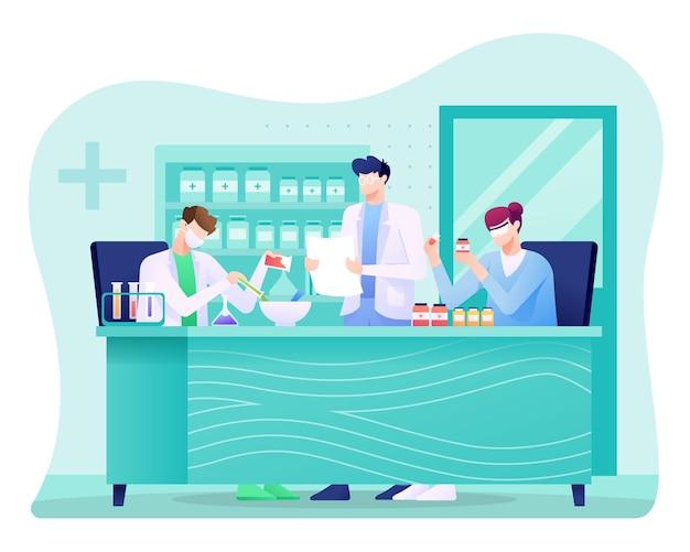 Ilustracja farmaceutyczna, naukowiec prowadzący badania w laboratorium.