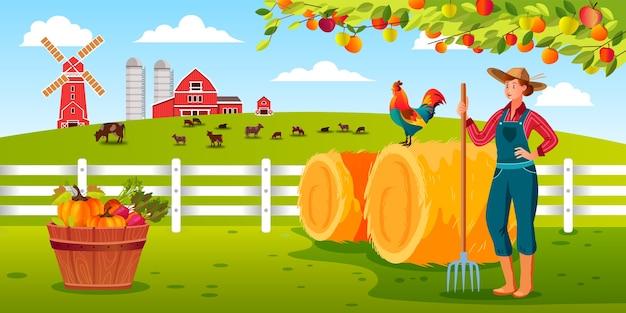 Ilustracja farmy zbiorów ekologicznych z kobieta rolnik trzyma widły, kogut, stóg siana, stodoła, zwierzęta gospodarskie