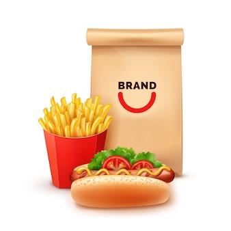 Ilustracja fast food zestaw z frytkami i hot dog