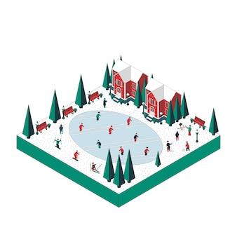 Ilustracja ferii zimowych. mieszkańcy jeżdżą na łyżwach, jeżdżą na nartach, grają w śnieżki.