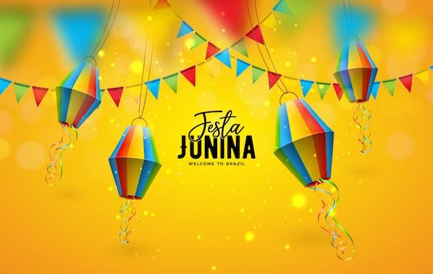 Ilustracja festa junina z flagami partii i papierowa latarnia na żółtym tle. projekt festiwalu brazylia czerwiec dla karty z pozdrowieniami, zaproszenia lub plakatu wakacyjnego.