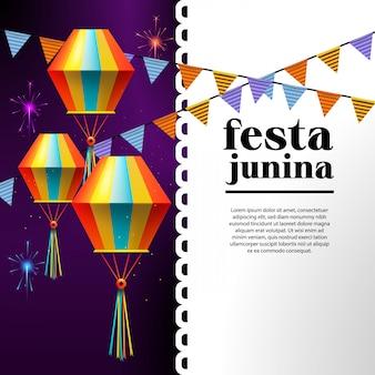 Ilustracja festa junina z flagami partii i papierowa latarnia