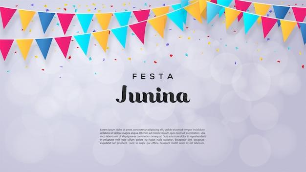Ilustracja festa junina z kolorowymi flagami trójkąta.
