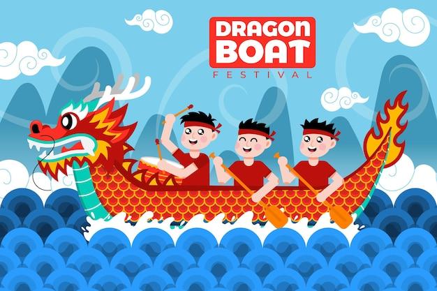 Ilustracja festiwalu ekologicznej płaskiej smoczej łodzi