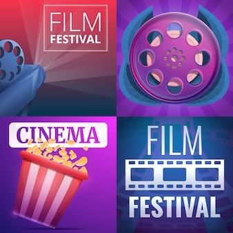 Ilustracja festiwalu filmowego na stylu kreskówki
