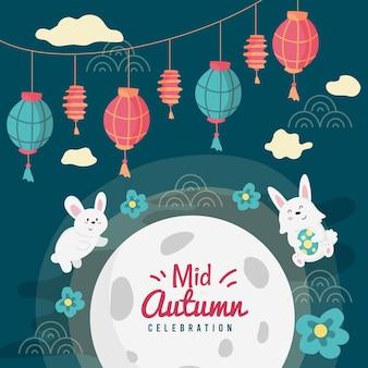 Ilustracja festiwalu połowy jesieni z króliczkami