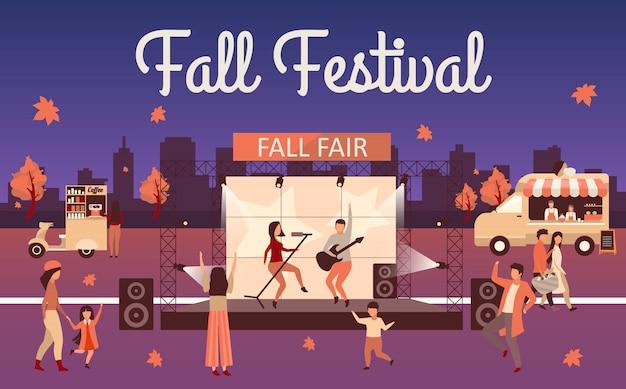 Ilustracja festiwalu upadku nocy. jesienna impreza i plakat reklamowy święto dziękczynienia. upadek liternictwo. rock fest, karnawał z ciężarówką z jedzeniem ulicznym. postać z kreskówki odwiedzających koncert