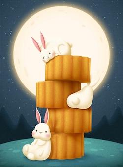 Ilustracja festiwalu w połowie jesieni z uroczym królikiem i ciastkami księżycowymi na tle księżyca w pełni