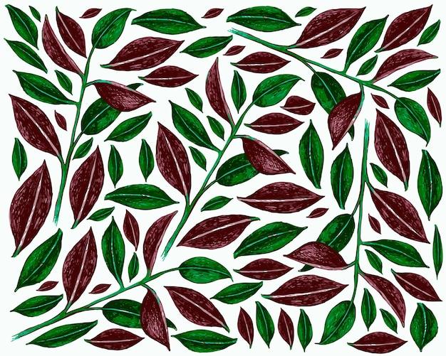 Ilustracja ficus elastica lub tło rośliny gumowe