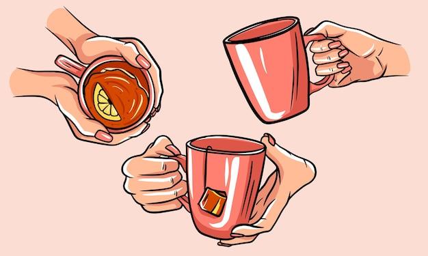 Ilustracja filiżanka herbaty. zestaw filiżanek herbaty rękami. pojedyncze zdjęcia.