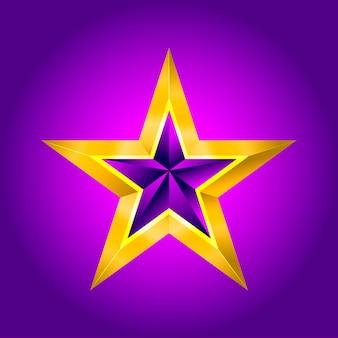 Ilustracja fioletowa złota gwiazda bożego narodzenia