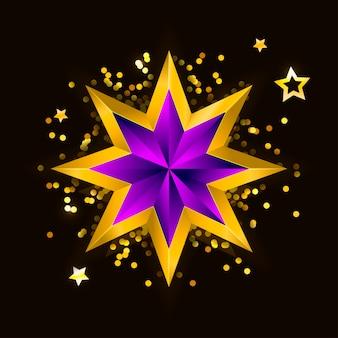 Ilustracja fioletowej złotej gwiazdy na tle stali. plik boże narodzenie nowy rok