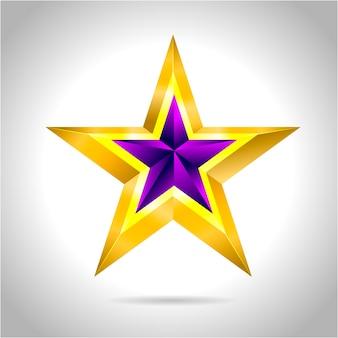 Ilustracja fioletowej złotej gwiazdy