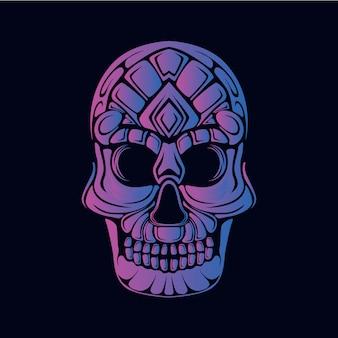 Ilustracja fioletowy czaszki