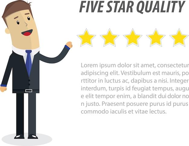 Ilustracja firmy. pięć gwiazdek dla biznesu.