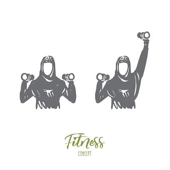 Ilustracja fitness w wyciągnąć rękę