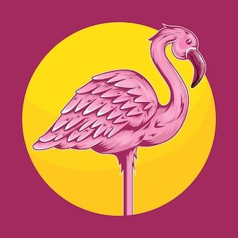 Ilustracja flamingo ptaków tropikalnych zwierząt