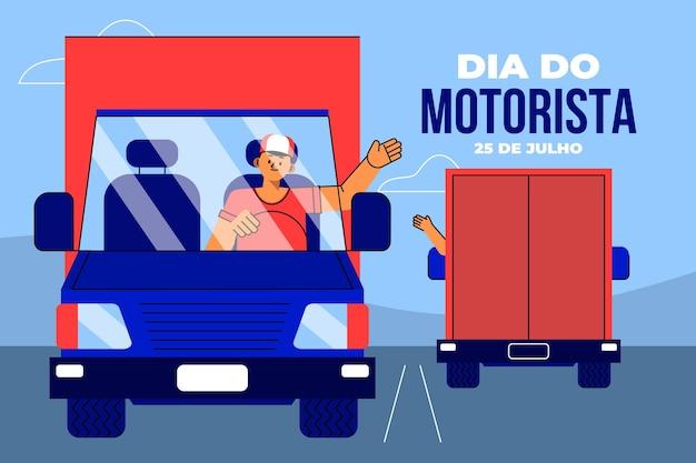 Ilustracja flat dia do motorista